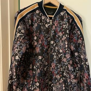 Floral bomber with racer stripe